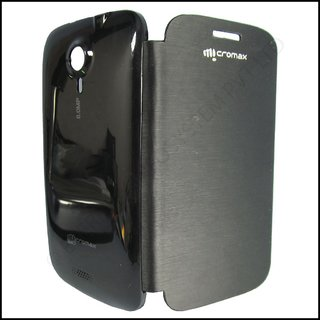 ClickAway MICROMAX CANVAS HD A116 CANVAS 3 BATTERY REPLACEABLE FLIP COVER CASE BLACK COLOR available at ShopClues for Rs.220