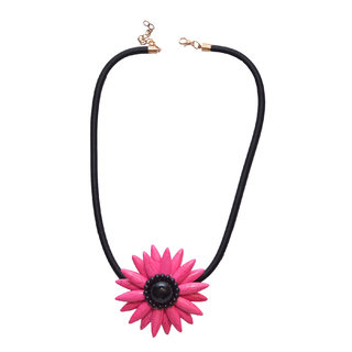 Women Jewellery, Women's Dark Pink Floral Rhinestone Pendant Necklace