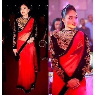 Nikesha Patel Designer Bollywood Georgette Saree Red