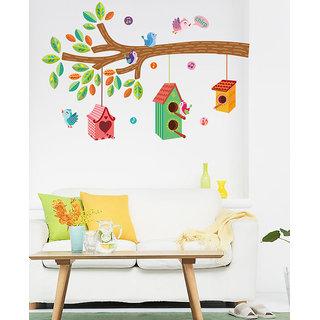 Asmi Collections Tree Branch Birds Nest PVC Wall Sticker JM7222