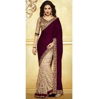 Saree Beige And Maroon
