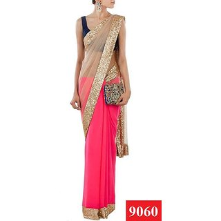 Indian Designer   White and Pink Bridal Saree