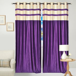 Fresh From Loom  Plain Eyelet Curtain (Set of 2)