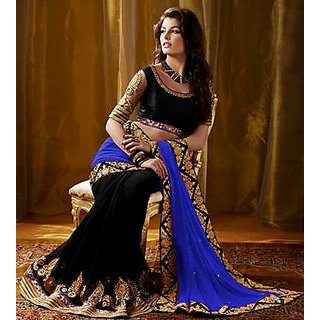Nakashi Blue Black Saree