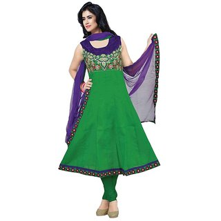 Green Cotton Anarkali Dress(JM-86)