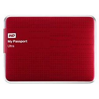 WD My Passport Ultra 1TB Portable External Hard Drive (Red)