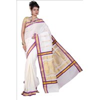 Fashionkiosks-Kearala-Cream-Colour-Pure-Cotton-Gold-Lamp-Work-With-Pallu-Saree-And-Blouse-Attached