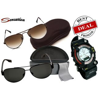 Sensation Black +Brown Aviator Rich Look Sunglasses With Titanium Sport Watch