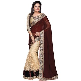 Miraculous Georgette & Net Border Work Cream & Maroon Half & Half Saree