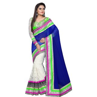 Auspicious Georgette & Net Border Work Blue & White Half & Half Saree