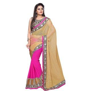 Aristocratic Chiffon Thread & Border Work Pink & Cream Plain Half & Half Saree