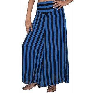 Poly Georgette Palazzo pants or Trouser - Blue and Black stripe