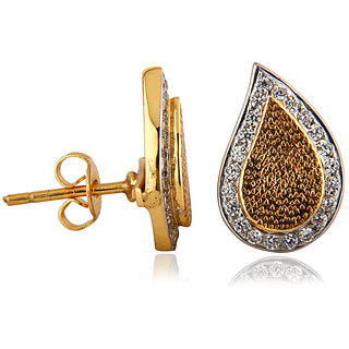 18K Yellow Gold Plated Rhinestone Teardrop Stud Earring
