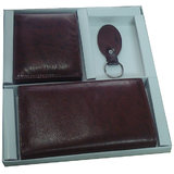 Gift Set Real Leather Made Ladies Wallet, Men Wallet , Key Ring With Free Gift