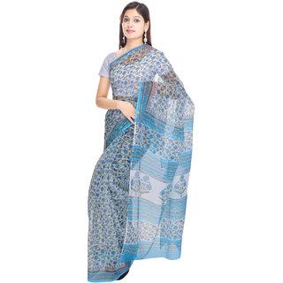Kalrav Fashion Printed Blue Kota Doria Cotton Saree