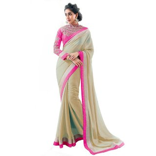 Bhuwal Fashion Beige Chiffon Lace Saree With Blouse