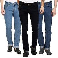 Stylox Black,Blue Mid Rise Slim Fit Denim Jeans For Men (Pack Of 3)