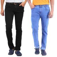 Stylox Blue,Black Mid Rise Regular Fit Denim Jeans For Men (Pack Of 2)