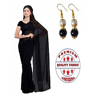 VICTORY PREMIUM QUALITY PURE GEORGETTE SAREE with PEARL HANGINGS (BLACK)