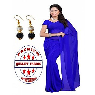 VICTORY PREMIUM QUALITY GEORGETTE SAREE with PEARL HANGINGS (BLUE)