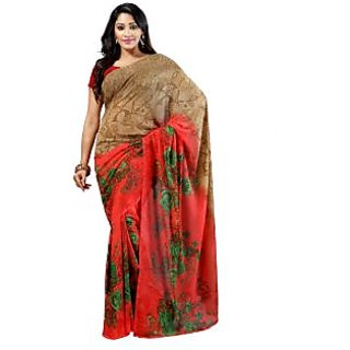 Jenny Orange And Green Georgette Printed Saree With Blouse Piece