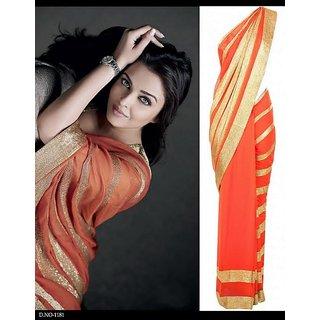 Bollywood Designer Sarees- Aishwarya Orange Saree