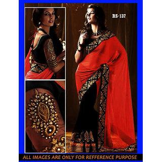 Bollywood HF Festival Wear Designer Orange Saree