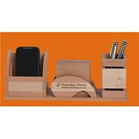 D-1 Personalized Laser Engraved Desktop Wooden Pen Stand With Cup Coaster