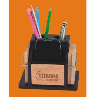 D-5 Personalized Laser Engraved Desktop Wooden Pen Stand With Cup Coaster