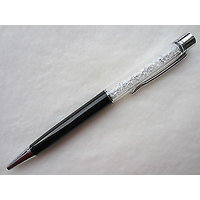 P-15 White Crystal Oem Lady Laser Engraved Black Ballpoint Pen