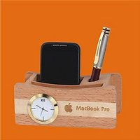 D-4 Personalized Laser Engraved Desktop Wooden Pen Stand