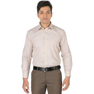Zido Full Sleeves Macho Beige Striped Polyster Cotton Formal Shirt