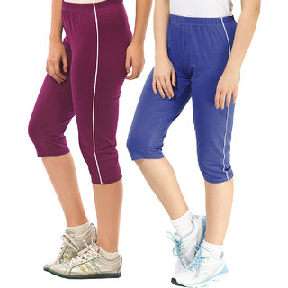 ESPRESSO WOMEN'S PACK OF 2 CAPRIS - PURPLE & ROYAL BLUE