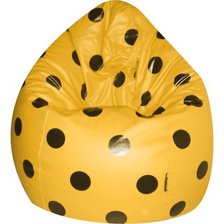 Jupiter XXXL- Premium Leatherette Bean Bag -Spotty Yellow- Cover Only