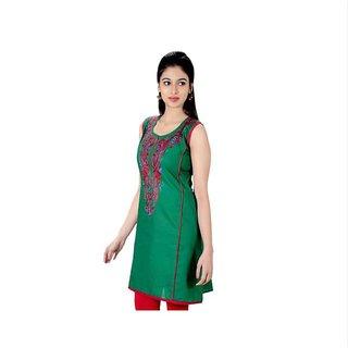 Designer Look Stlylish Heavy Embroidred Cotton Kurti / Kurta GRN JYO