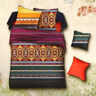 Multicolor Polyester Double Bedsheet With Contemporary Print-384