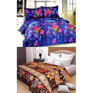 Little Homes Double BedSheet  AC Blanket Combo