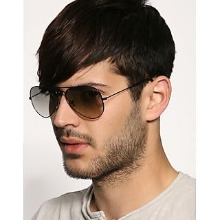 Aviator Sunglasses Brown Lens Black Frame