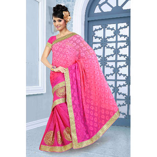 Sightly Graceful Pink Shaded Saree