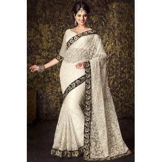 Gorgeous Attractive Off White Designer Wear Net Saree