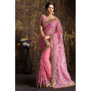 Magnificent Attractive Pink Net Party Wear Saree