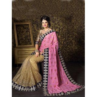 Nice Pink  Beige Half-Half Saree