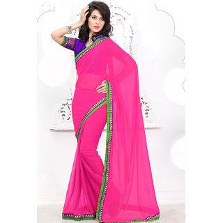 Rakish Charming Pink Chiffon Saree