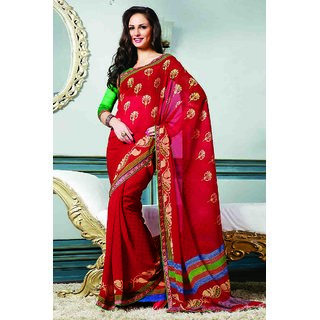 Up-To-Date Red Printed Chiffon Saree With Lace Border Work