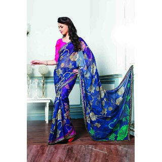 Urbane Gorgeous Blue Saree With Lace Border Work