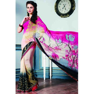 Authentic Charming Pink Saree With Lace Border Work