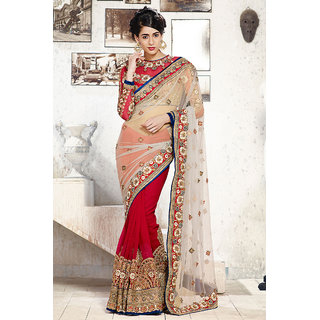 Modern Off White Net Saree With Attractive Work