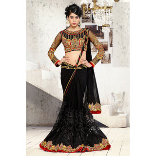 Mesmerizing Chic Black Designer Wear Saree