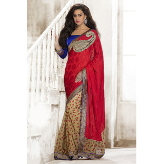 Instyle Attractive Red Georgette Saree