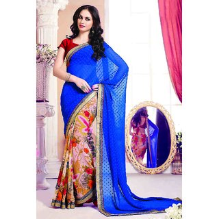 Adorable Blue Georgette Saree With Heavy Lace Border